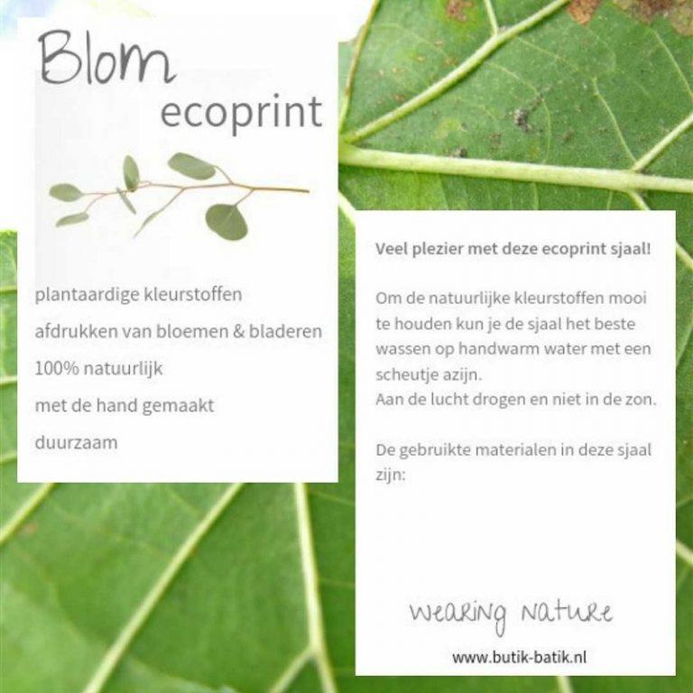 Ecoprint sjaals van Blom, wearing nature | Verrassend en uniek | Butik Batik
