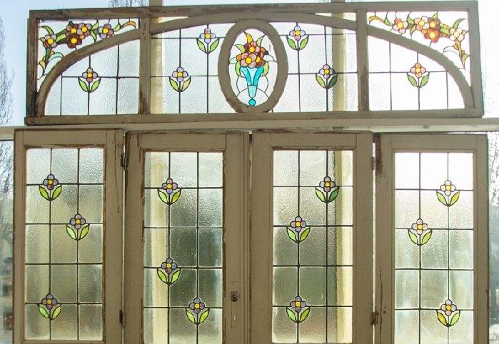 Glas in lood ramen en deuren   Brocantiek de Linde
